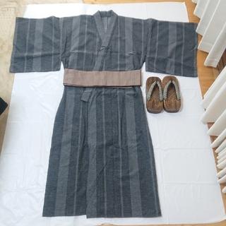 メンズ浴衣 、帯、下駄の3点セット(浴衣)