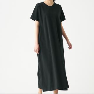 MUJI (無印良品) - 無印 太番手天竺編みフレアワンピース ブラック