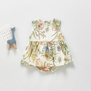 petit main - スカート付きフラワー ロンパース 73 80