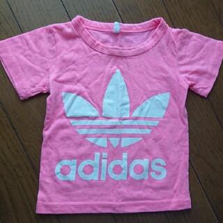 アディダス(adidas)のアディダス ベビー服 半袖 Tシャツ 蛍光ピンク 男女兼用(Tシャツ)
