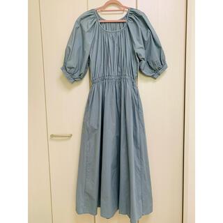 GRL - ★GRL パフスリーブ ロングワンピース 5分袖 水色サックス