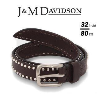 新品 定価5.8万 J&M DAVIDSON スタッズベルト ダークブラウン