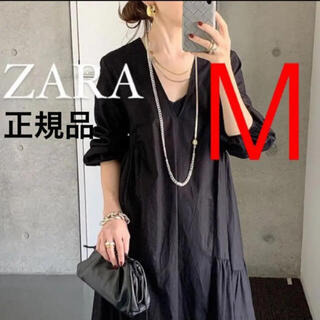 ZARA - 新品 ZARA  ザラ パフスリーブ付きポプリンワンピース M