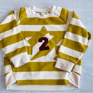 アンパサンド(ampersand)のアプレレクール*ナンバー付きボーダーカットソー*100(Tシャツ/カットソー)