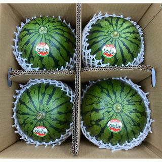 和歌山県産 ひとりじめスイカ4玉 2L 約2.3kg(フルーツ)