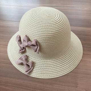 petit main - 【新品】プティマイン 麦わら 帽子 ハット リボン 50 ライトピンク