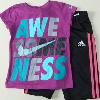 アディダス(adidas)の110☆ハーフパンツとTシャツ二点まとめ売り(パンツ/スパッツ)