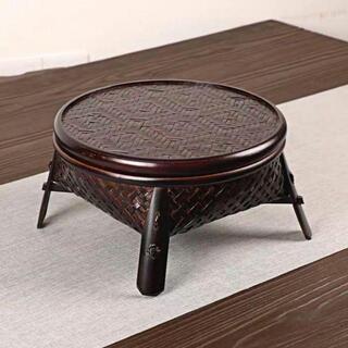 竹編物古家庭用整理籠収納籠かご果物籠茶具茶道零配蓋収納箱(ローテーブル)
