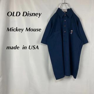 ディズニー(Disney)の☆美品☆オールドディズニー☆シングルステッチ☆刺繍ミッキー☆半袖ポロシャツ(ポロシャツ)