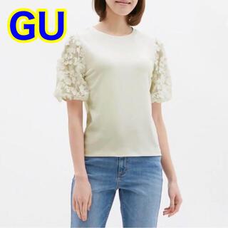 ジーユー(GU)のGU シアー エンブロイダリースリーブ Tシャツ(Tシャツ(半袖/袖なし))