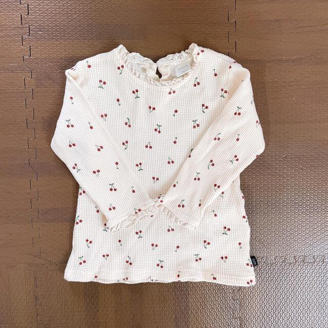 futafuta(フタフタ)のフタフタ さくらんぼワッフルロンT キッズ/ベビー/マタニティのキッズ服女の子用(90cm~)(Tシャツ/カットソー)の商品写真