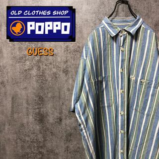 ゲス(GUESS)のゲスGUESS☆USA製ダブルポケットロゴタグ半袖マルチストライプシャツ 90s(シャツ)