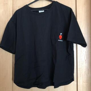 ピーナッツ(PEANUTS)のTシャツ レディース スヌーピー SNOOPY PEANUTS ブラック(Tシャツ(半袖/袖なし))
