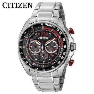 CITIZEN - 【黒文字盤に赤いアクセントが映える】シチズン CITIZEN 高級 メンズ腕時計