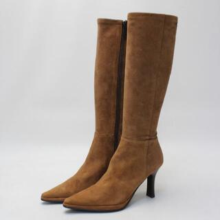 プールサイド(POOL SIDE)のPOOL SIDE 本革スエードシンプルブーツ(22.5cm)美品(ブーツ)