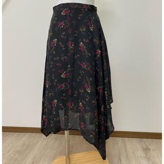 ジーユー(GU)の【新品】GU ニュアンスヘムスカートMサイズ(フラワー)(ひざ丈スカート)