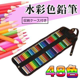 新品未使用☆水溶性色鉛筆 48色 水彩色鉛筆 水彩画 塗り絵 絵の具 収納ケース(色鉛筆)