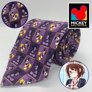 ディズニー(Disney)のMICKEY UNLIMITED ミッキー  アンリミテッド総柄ネクタイ紫(ネクタイ)