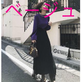 アメリヴィンテージ(Ameri VINTAGE)のベージュ・サスペンダープリーツスカート(ロングスカート)