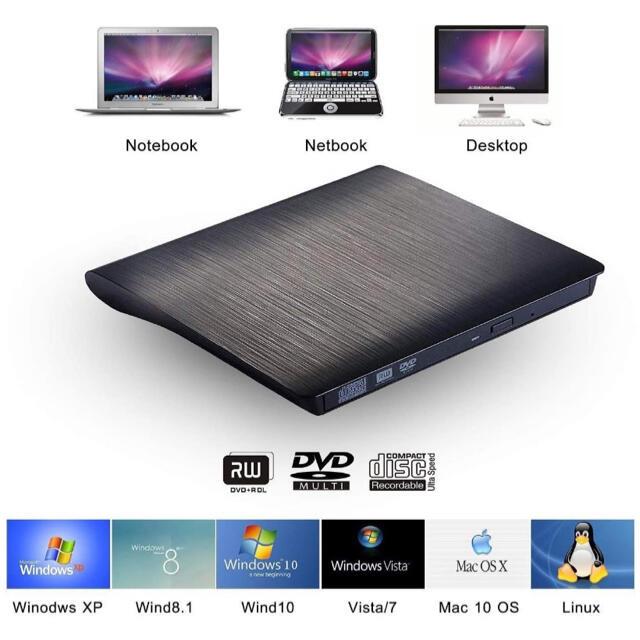 USB 3.0外付け DVD ドライブ DVD プレイヤー ポータブルドライブ スマホ/家電/カメラのテレビ/映像機器(DVDプレーヤー)の商品写真