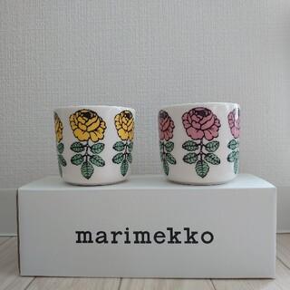 マリメッコ(marimekko)のマリメッコ ヴィヒキルース ラテマグ(イエロー/ピンク)(グラス/カップ)