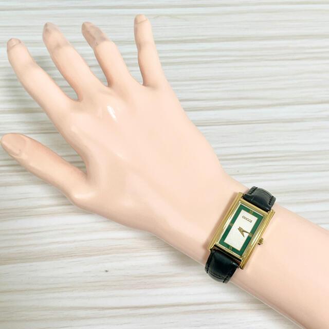 Gucci(グッチ)の143 グッチ時計 レディース腕時計 スクエア アンティーク グリーン 緑 レディースのファッション小物(腕時計)の商品写真