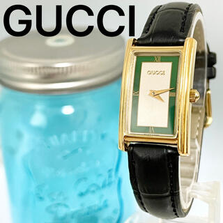 Gucci - 143 グッチ時計 レディース腕時計 スクエア アンティーク グリーン 緑