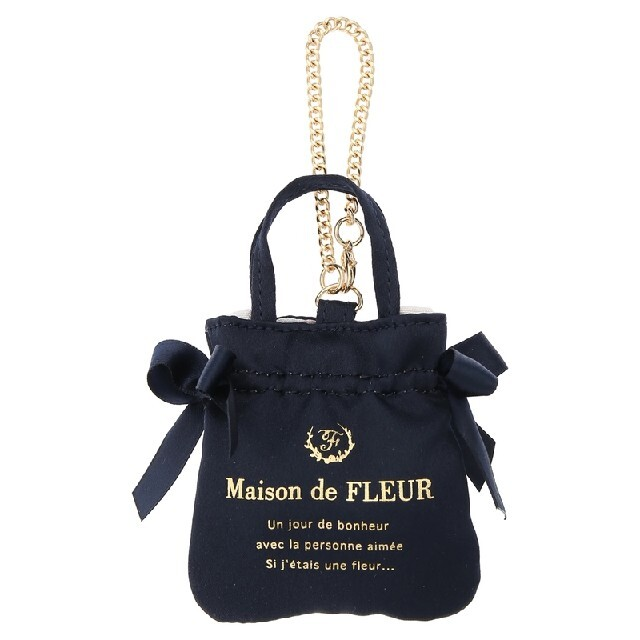 Maison de FLEUR(メゾンドフルール)のMaison de FLEURミニダブルリボントートバッグチャームネイビー ハンドメイドのファッション小物(バッグチャーム)の商品写真