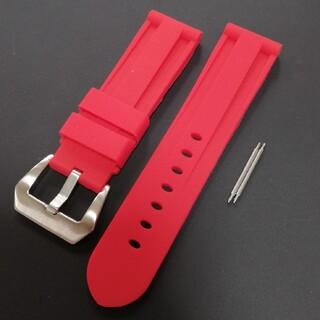 腕時計バンド ラバーベルト 24mm 赤 パネライやアップルウォッチなどにいかが