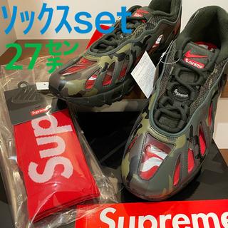 シュプリーム(Supreme)のsupreme NIKE AirMax 96 カモ 27cm +赤ソックス(スニーカー)
