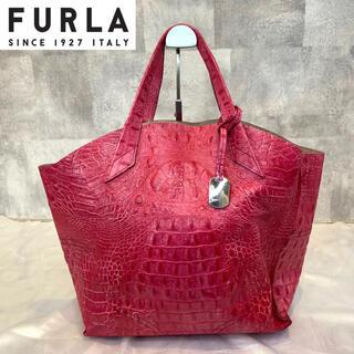 Furla - 【FURLA】フルラ クロコ型押し ローズピンク レザー ハンドバッグ チャーム