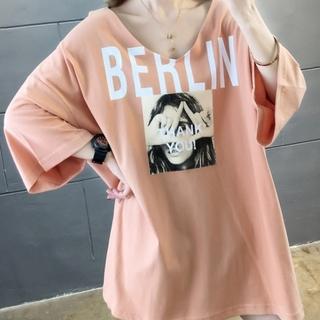 ✨ラスト1点✨SALE✨ L フォトプリントVネック  韓国 Tシャツ オレンジ(Tシャツ(半袖/袖なし))