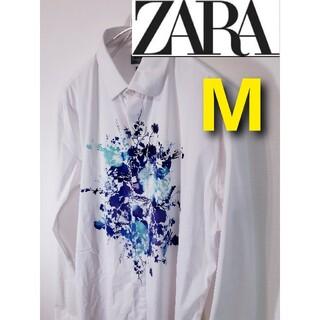 ZARA - 【ZARA MAN】植物柄シャツ/SLIMFIT/タイダイ柄春服/ザラ/メンズ