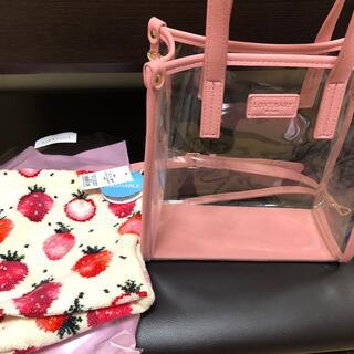 FEILER - フェイラー  クリアショルダーバッグ ピンク& マチ付き巾着 ストロベリードット