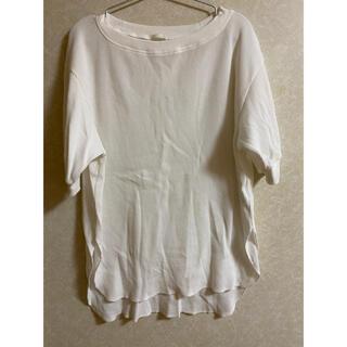 ジーユー(GU)のTシャツ カットソー トップス 白 ロング丈 ワッフル生地(Tシャツ/カットソー(半袖/袖なし))