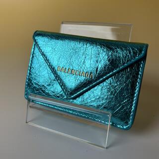 バレンシアガ(Balenciaga)のBALENCIAGA 極美品 メタリック ブルー 財布 エフェクト バレンシアガ(財布)