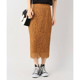 IENA - IENA キャメルの総レース ミモレ丈のスカート