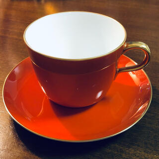 オオクラトウエン(大倉陶園)の大倉陶園 色蒔 レッド モーニングカップ&ソーサー(食器)