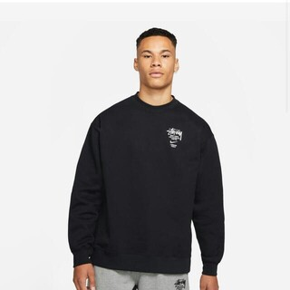 STUSSY - NIKE◆21SS/NRG ZR CREW FLEECE BLACK SWEAT