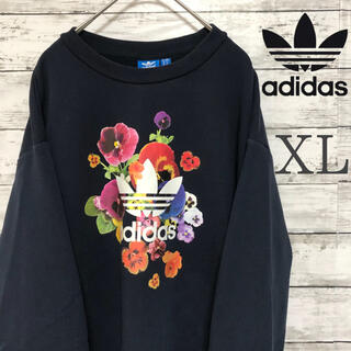 adidas - 【花柄】美品  XL 大人気 アディダス ビックロゴ トレフォイル トレーナー