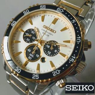 セイコー(SEIKO)の【新品】SEIKO ソーラー セイコー クォーツ メンズ腕時計 ゴールド(腕時計(アナログ))