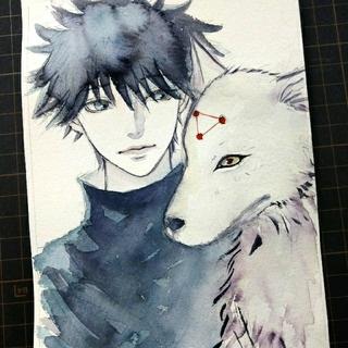 ②専用 手描きイラスト ドローイング 犬と青年 水彩画(絵画/タペストリー)