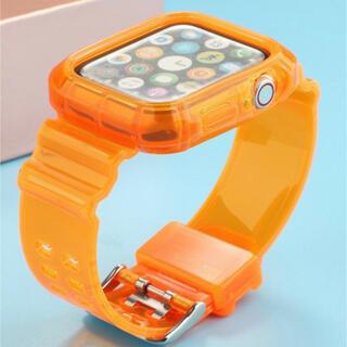 Apple Watch - Apple Watch バンド クリア オレンジ 42mm 44mm