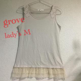 グローブ(grove)のgrove グローブ レディース ノースリーブ M ベージュ色 ワールド 難有(カットソー(半袖/袖なし))