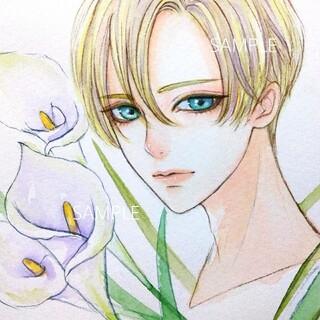 専用 手描きイラスト《カラー/White》オリジナル 水彩画(絵画/タペストリー)