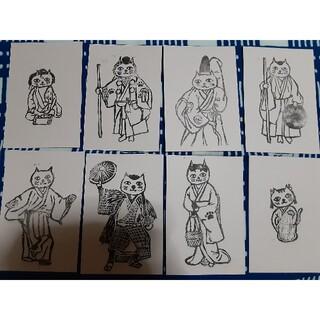 歌舞伎 消しゴムはんこイラスト ポストカード8枚セット(その他)