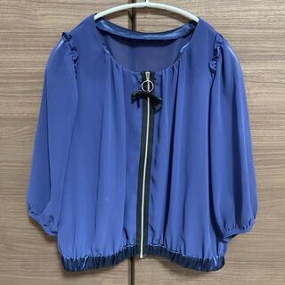 ランバンオンブルー(LANVIN en Bleu)のランバンオンブルー☆シフォン ジャケット(ノーカラージャケット)
