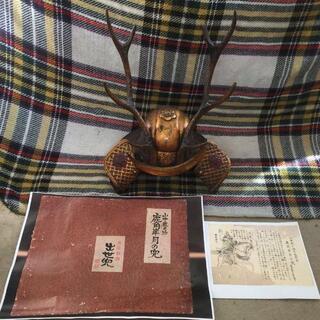 山中鹿之介 幸盛 鹿角半月の 兜 飾り 置物42cm 出世兜(武具)