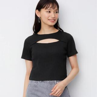 ジーユー(GU)のgu 黒トップス(Tシャツ(半袖/袖なし))