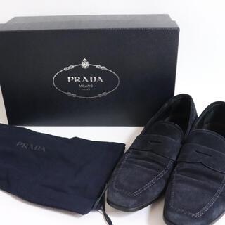 プラダ(PRADA)の【PRADA】 プラダ スウェード スリッポン 牛革 ネイビー サイズ5(ドレス/ビジネス)